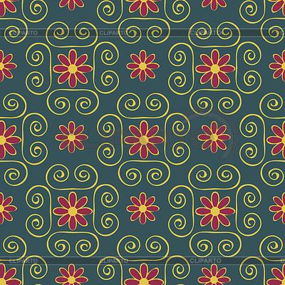붉은 꽃과 진한 노란색 소용돌이 패턴 | 벡터 클립 아트 |ID 3370949