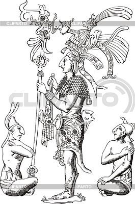 Starożytnych Azteków płaskorzeźba z Oaxaca | Klipart wektorowy |ID 3349763