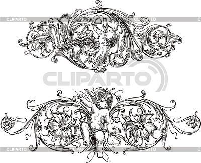 与天使和天鹅艺术风格的护身符 | 向量插图 |ID 3349803