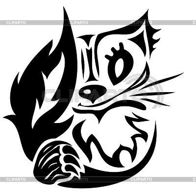 Tatuaje del gato estilizado | Ilustración vectorial de stock |ID 3268424
