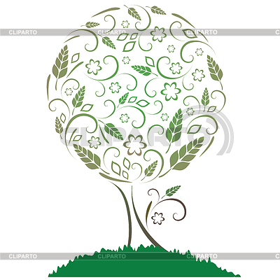 Tree with leaves, flowers and ears | Stock Vector Graphics |ID 3268615
