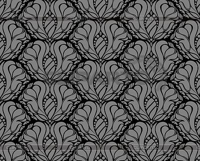 Black and gray decorative seamless floral pattern | Stock Vector Graphics |ID 3291346