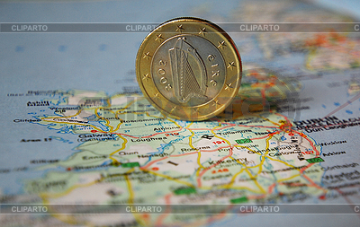 Irish euro coin on map | High resolution stock photo |ID 3228115