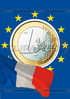 Euro coin and French Tricolore | High resolution stock photo |ID 3228116