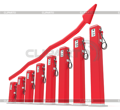 Rise in gas price: petrol pumps chart with red graph   High resolution stock illustration  ID 3235274
