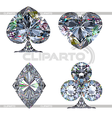 Colorful Diamond shaped Card Suits   High resolution stock illustration  ID 3236506