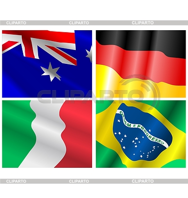 다른 나라의 국기를 흔들며 집합 | 벡터 클립 아트 |ID 3234928