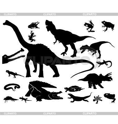 Silhouetten von Reptilien und Dinosauriern | Stock Vektorgrafik |ID 3234980