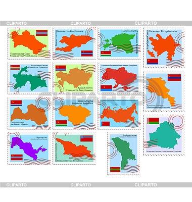 苏联共和国邮票   向量插图  ID 3235008