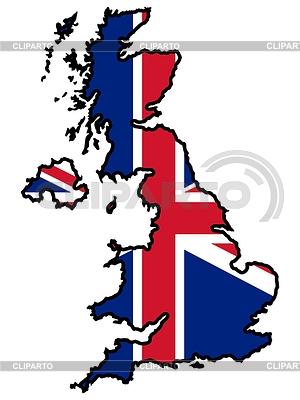 Mapa w barwach Wielkiej Brytanii   Klipart wektorowy  ID 3257318