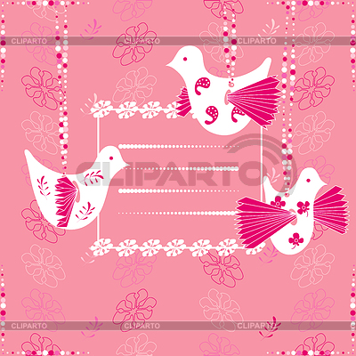 조류와 핑크 카드 | 벡터 클립 아트 |ID 3345239