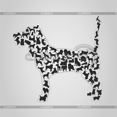 Dog made of dog silhouettes | Stock Vector Graphics |ID 3257536