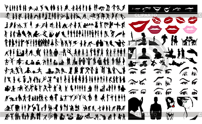 Collection of people silhouettes | Stock Vector Graphics |ID 3262455