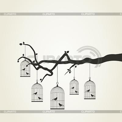 Ptaszki w klatce | Klipart wektorowy |ID 3290209