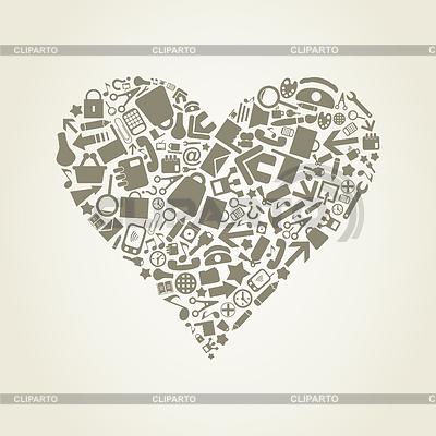 Herz von Bürowaren | Stock Vektorgrafik |ID 3319111