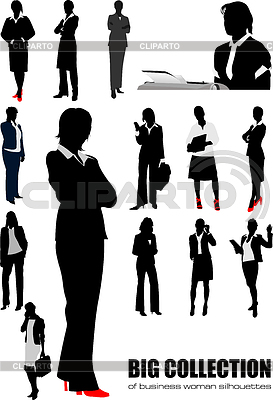 Big collection of business woman silhouettes. | Stock Vector Graphics |ID 3288325
