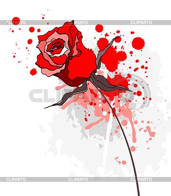 Красная роза в стиле гранж | Векторный клипарт |ID 3279737