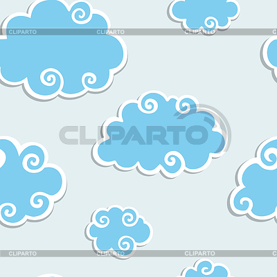 Blue Clouds with White Border. Seamless pattern | Stock Vector Graphics |ID 3280476