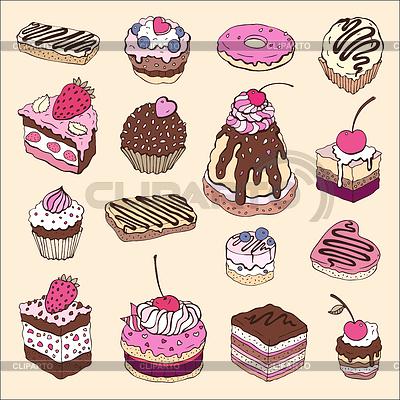 Set von niedlichen Kuchen | Stock Vektorgrafik |ID 3292397