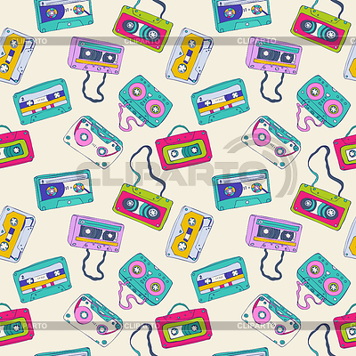Seamless pattern of retro cassette tapes | Stock Vector Graphics |ID 3346698