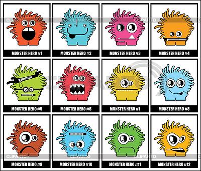 Dwanaście kolorowe potwory | Klipart wektorowy |ID 3285877