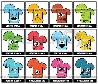 Dwanaście kolorowe potwory   Klipart wektorowy  ID 3285879