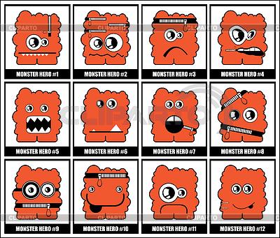 Dwanaście kolorowe potwory   Klipart wektorowy  ID 3285881