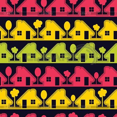 在黑色背景上的五颜六色的房屋 | 向量插图 |ID 3286198