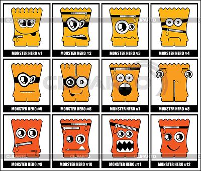 Zestaw dwanaście żółtych potworów | Klipart wektorowy |ID 3286240
