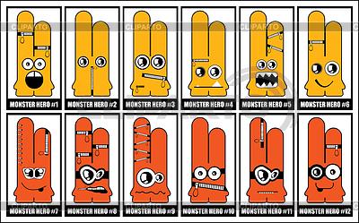 Zestaw dwanaście żółtych potworów | Klipart wektorowy |ID 3286242