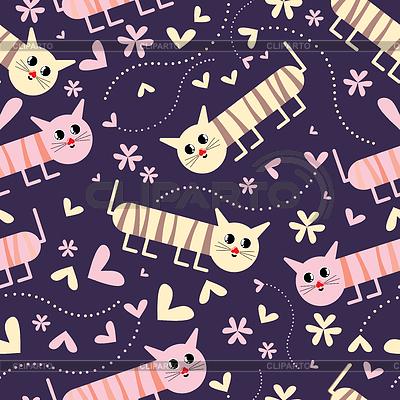 Nahtloses Muster mit Katzen | Stock Vektorgrafik |ID 3286394
