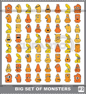 Duży zestaw kolorowych potworów | Klipart wektorowy |ID 3308663