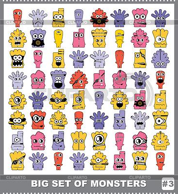 다채로운 괴물의 큰 설정 | 벡터 클립 아트 |ID 3308667
