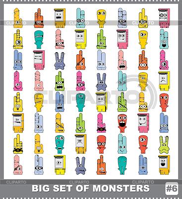 다채로운 괴물의 큰 설정 | 벡터 클립 아트 |ID 3308673