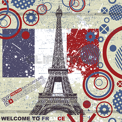 French grunge postcard with Eiffel tower | Stock Vector Graphics |ID 3309122