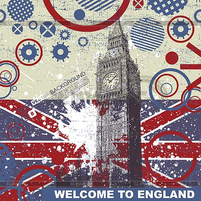 Grunge postcard with England flag and Big Ben | Stock Vector Graphics |ID 3309124