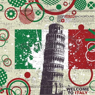 Grunge postcard with Italy flag and Tower of Pisa | Stock Vector Graphics |ID 3309128