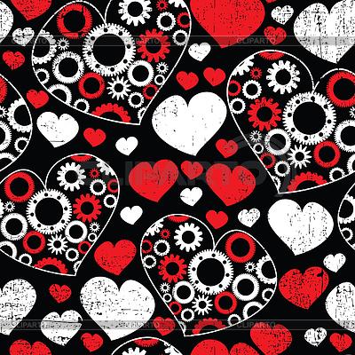 Jednolite wzór z białych i czerwonych serc | Klipart wektorowy |ID 3309320