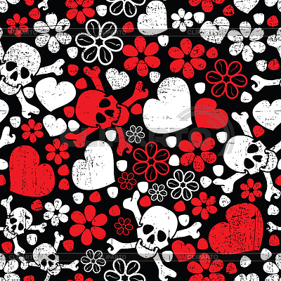 Red skulls in flowers and hearts - seamless pattern | Stock Vector Graphics |ID 3309364