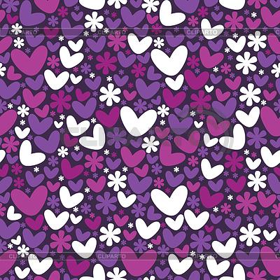 하트와 꽃 - 원활한 패턴 | 벡터 클립 아트 |ID 3324121