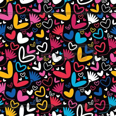 Herzen und Blumen - nahtloses Muster | Stock Vektorgrafik |ID 3324129