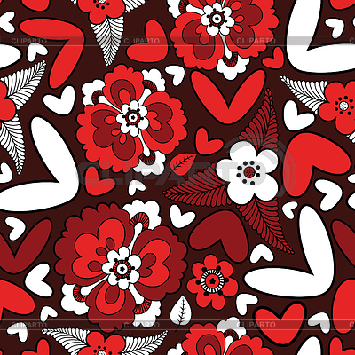 Hearts and flowers - seamless pattern | Stock Vector Graphics |ID 3324165