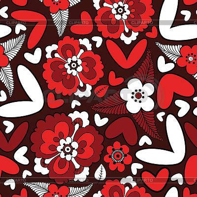 Serca i kwiaty - bez szwu | Klipart wektorowy |ID 3324165