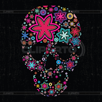 Colorful skull on black grunge background | Stock Vector Graphics |ID 3331127