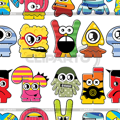 Monsters seamless background   Stock Vector Graphics  ID 3333299