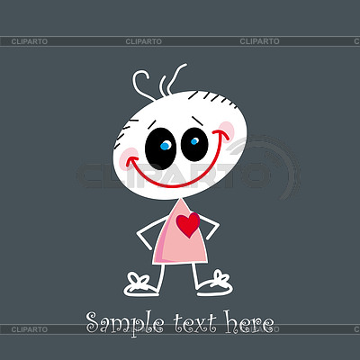 Cute little baby holding red heart | Stock Vector Graphics |ID 3287201