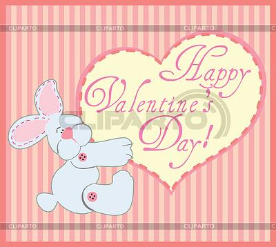 토끼와 발렌타인 인사말 카드 | 벡터 클립 아트 |ID 3287225