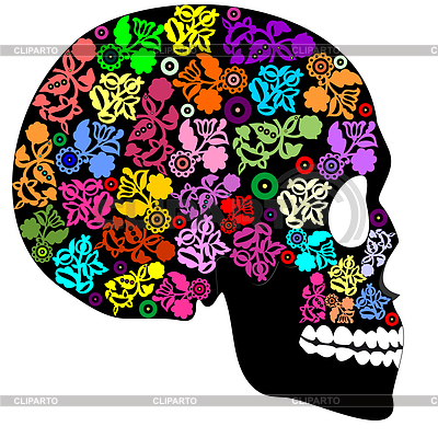 Human skull in flowers  | Stock Vector Graphics |ID 3287501
