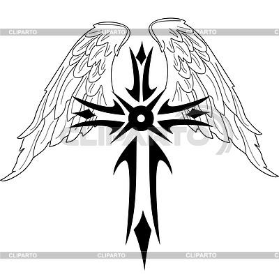 Czarny krzyż ze skrzydłami | Klipart wektorowy |ID 3287639