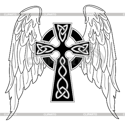 Black cross with wings | Stock Vector Graphics |ID 3287649